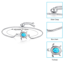 Load image into Gallery viewer, 'Gorgeous' Blue Opal Sea Turtle Bracelet In Silver Plate With  Cubic Zirconia Crystal Stone