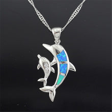 Load image into Gallery viewer, Cute Dolphin & Baby Pendant In Silver Plated With Blue Synthetic 'Fire Opal' Necklace!