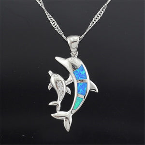 Cute Dolphin & Baby Pendant In Silver Plated With Blue Synthetic 'Fire Opal' Necklace!