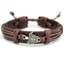 Load image into Gallery viewer, 'Boho' Sea Turtle Leather Wrap Bracelet for Men