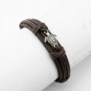 'Boho' Sea Turtle Leather Wrap Bracelet for Men