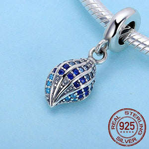 Drop Dead Gorgeous 100% 925 Sterling Silver Voyage Conch Shell Charm With Blue Cubic Zirconia Inlays!