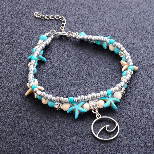 'Perfectly Beachy' Turquoise & White 'Wave' Anklet With Starfish