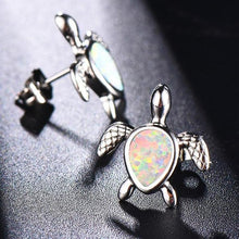 Load image into Gallery viewer, Beautiful 'White Fire Opal' Sea Turtle Stud Earrings In Genuine 925 Stamped Sterling Silver!'