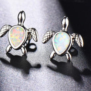 Beautiful 'White Fire Opal' Sea Turtle Stud Earrings In Genuine 925 Stamped Sterling Silver!'