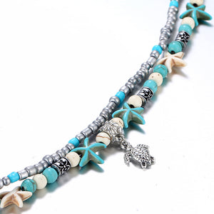 'AWESOME' Bohemian Beach Double Layer Beaded Starfish Bracelet With Sea Turtle Charm