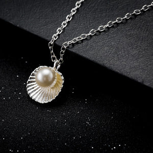 '18K White Gold' Sea Shell With Simulated Pearl Necklace!