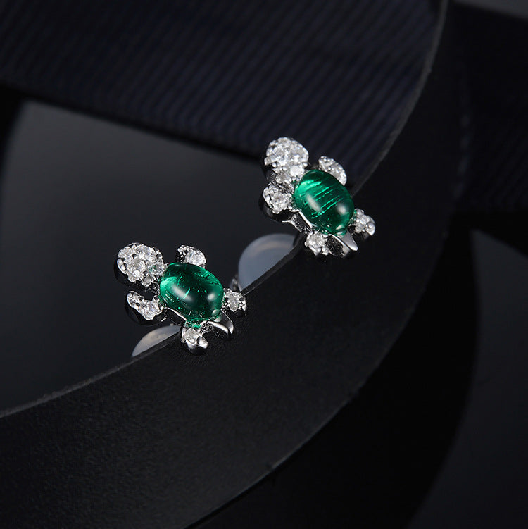 Genuine '925 Sterling Silver' Green Cubic Zirconia Stone Sea Turtle Stud Earrings -- Off to The Opera!