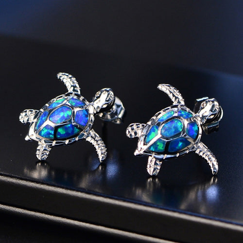 Australian 'Blue Fire Opal' Sea Turtle Stud Earrings In Genuine '925 Sterling Silver'