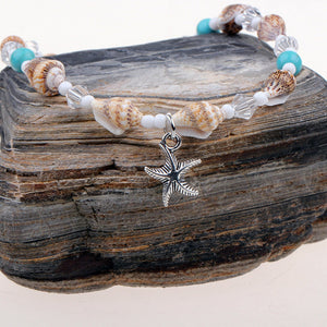 Delightfully Cute Adjustable 'Boho' Beads & Starfish Anklet