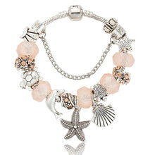 Load image into Gallery viewer, 'Newly Available!' Lovely Glass Beads With Antique Silver Starfish And Shell Charms Bracelet!