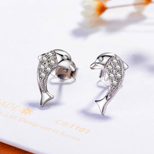 Beautiful 'Sparkling Dolphin' Stud Earrings In 100% 925 Sterling Silver!