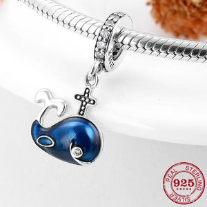 'Happy' Enamel Blue Whale Pendant Charm In 925 Sterling Silver harm To Fit  DIY Jewelry