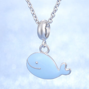 Fashionable Blue Enamel Whale In 925 Sterling Silver Lovely Whale Charm For Bracelets Or Necklaces!