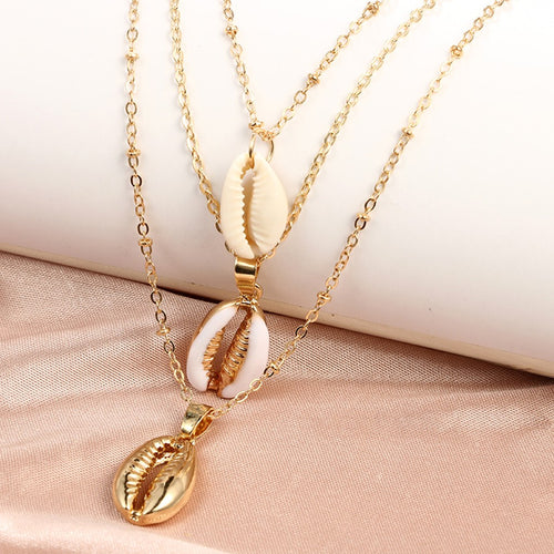 'Super' Gold Alloy 3 Shells Multi-Layer Pendant Chain Statement Necklaces!