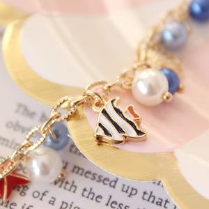 'Fairy Tale Fancy' Adorned With Shells & Fish & Starfish And Simulated Pearls Charm Bracelet!