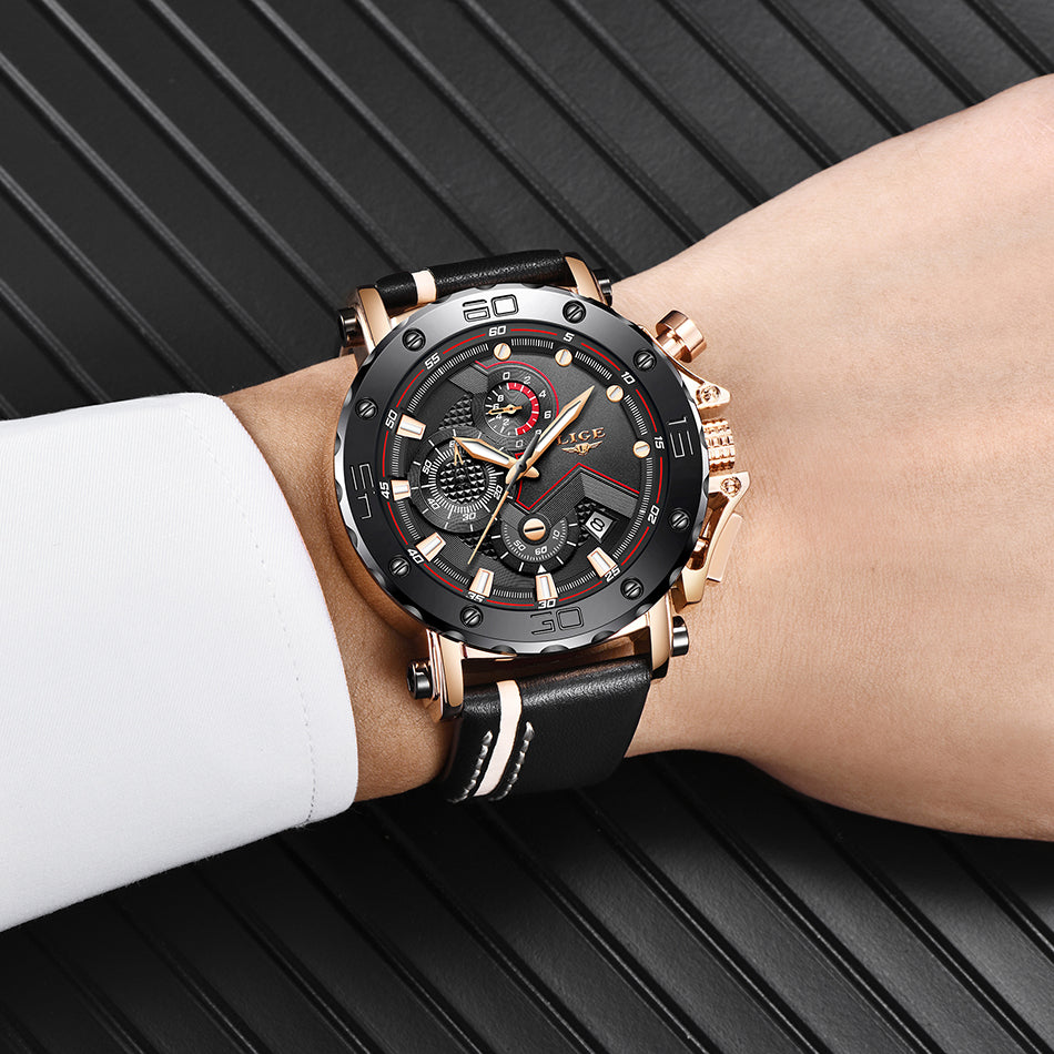 Best 2019 LIGE Military Sport Watches With Leather Band & Chronograph - SunnyLandWatches