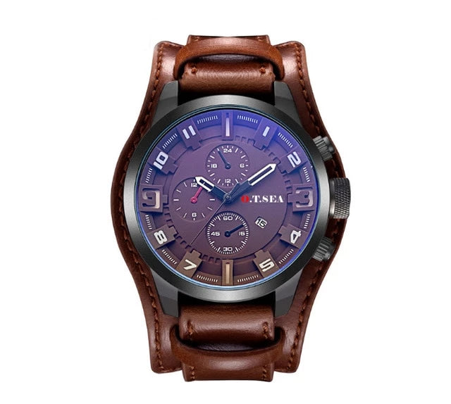 Leather Military Sports Quartz Wristwatch With Date - SunnyLandWatches