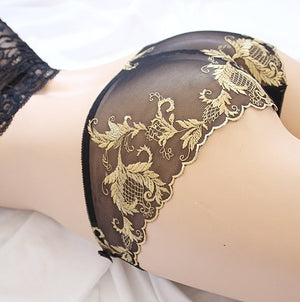 Women Lace Embroidery Transparent Panties