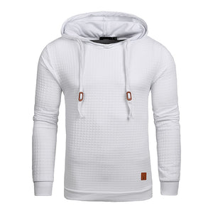Men Long Sleeve Solid Color Hooded Sweatshirt