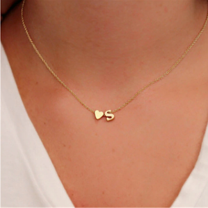 Tiny Dainty Heart Personalized Initial Letter Necklace