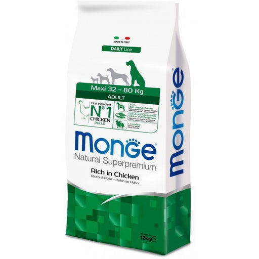 Monge Maxi Chicken & Rice Adult Dog Food 12kg - exxab.com