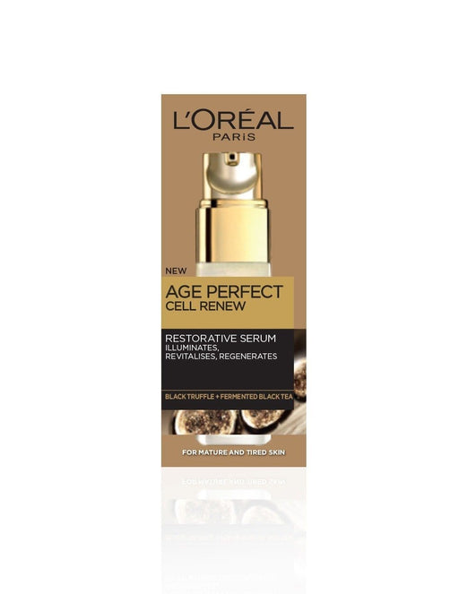 L'ORÉAL AGE PERFECT CELL RENEW ENRICHED WITH GOLDEN MICRO-REFLECTORS TO INSTANTLY ILLUMINATE THE SKIN.