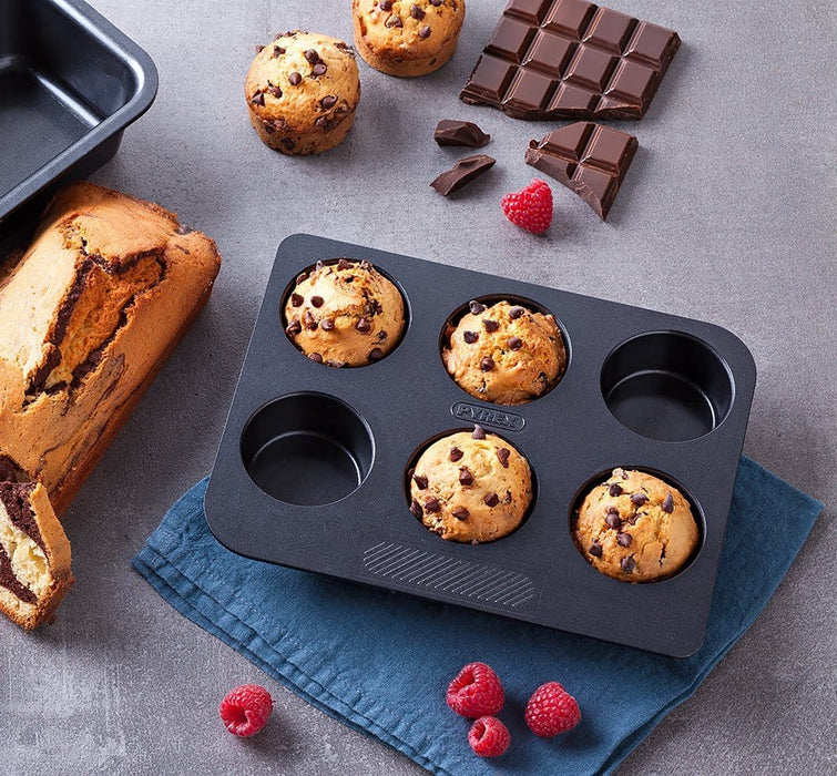 Pyrex MG06BU6 Magic Rectangular 6 Cup Muffin Tray Carbon Steel exxab.com