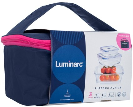 Luminarc Pure Bos Active Storage Set With Lunch Box exxab.com