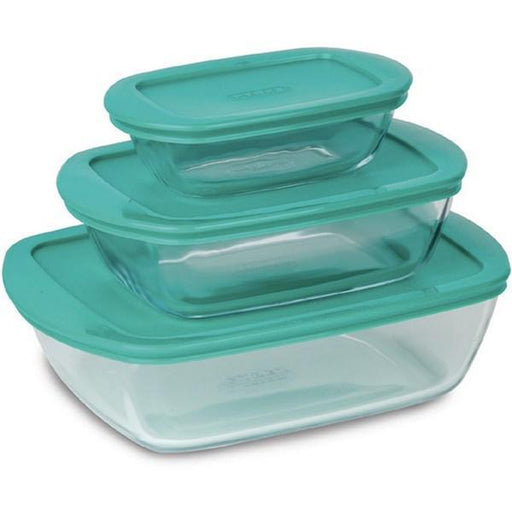 Pyrex 912S913 Set of 3 Cook & Store Glass Storage Set - Assorted colors (0.4 - 1.1 - 2.5 L) exxab.com