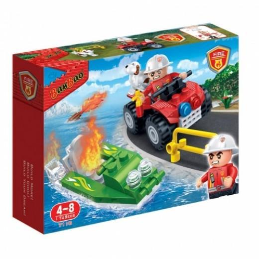 BanBao BB-7118 New Fire Car And Boat 62pcs exxab.com