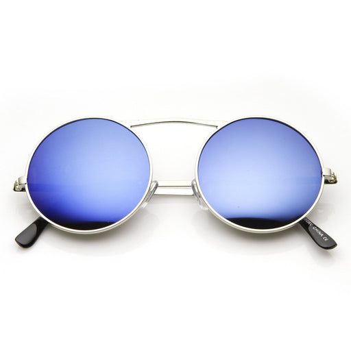 ZeroUV Large Retro Round Steampunk Mirrored Lens Sunglasses exxab.com