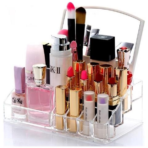 Acrylic Makeup Rack Organizer With Mirror exxab.com