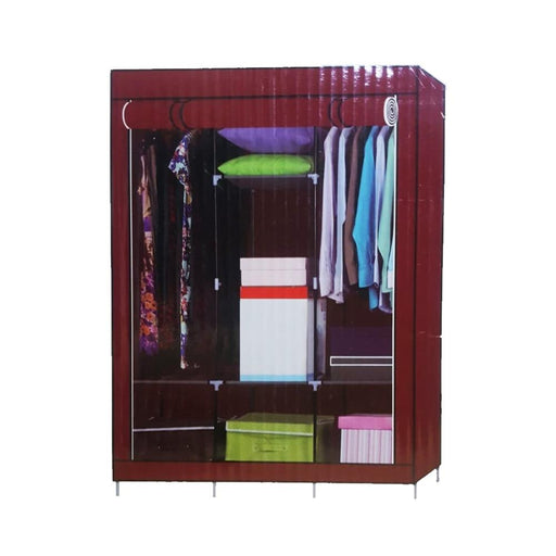 Fabric foldable wardrobe multipurpose clothes closet with 3 doors exxab.com