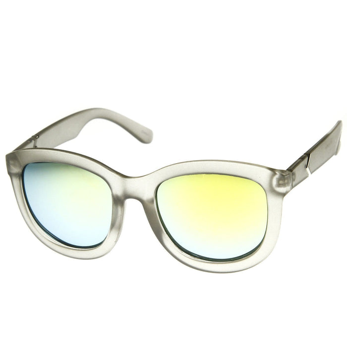 ZeroUV Crazy Frost Frame Mirrored Lens Oversize Sunglasses
