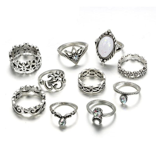 Silver Ring Geometric Elephant Flower Green Rhinestone Knuckle Rings Midi Finger Rings Jewelry 31 exxab.com