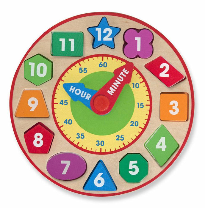 Melissa A Doug 8593 Shape Sorting Clock with 12 removable pieces - exxab.com
