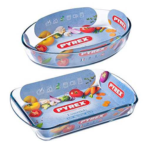 Pyrex Essentials Set of  2 roasters (Rectangular 40cm + Oval 30cm) exxab.com