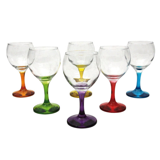 Luminarc 8305 set of crazy flower glass for drinks , colored foot, 6 Pcs. exxab.com