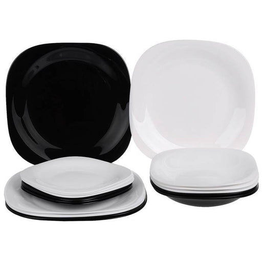 Luminarc Carine White/Black Dinner Set 18 Pcs exxab.com