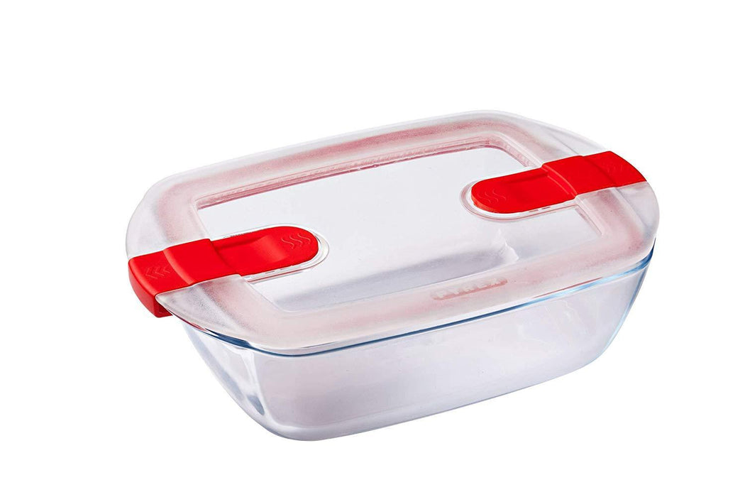 Pyrex glassware, cook & heat rectangleglass container with steam valve lid exxab.com