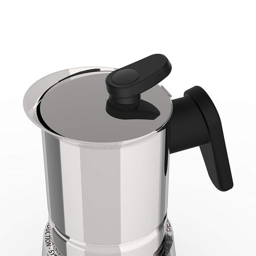 Pedrini 02CF037 Coffee Maker S/s W/ Stainless Cover Bakalite Black Handle Mirror polishing - Safety Valve - Gift Box