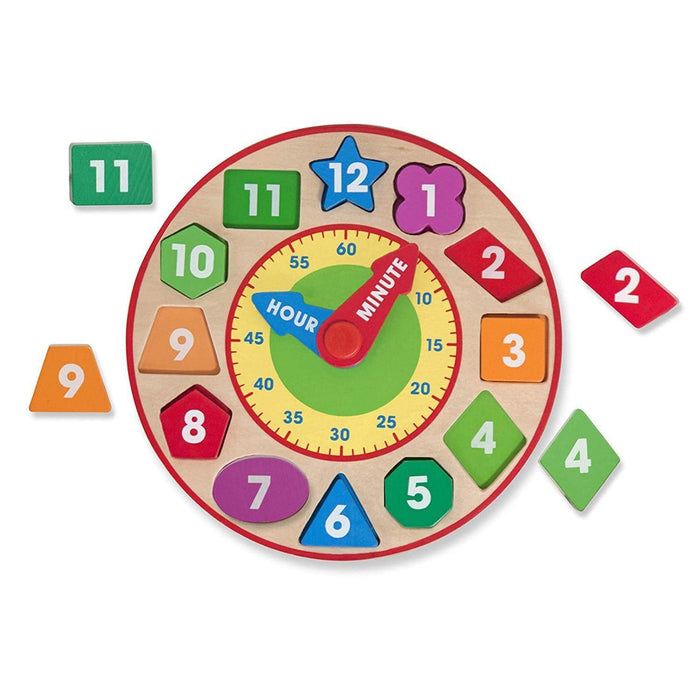 Melissa A Doug 8593 Shape Sorting Clock with 12 removable pieces exxab.com