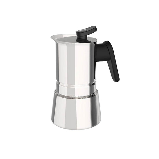 Pedrini 02CF036 Coffee Maker S/s W/ Stainless Cover Bakalite Black Handle Mirror polishing - Safety Valve - Gift Box