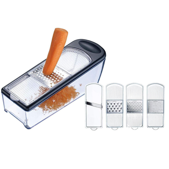 Westmark 1435 grater set 4 stainless steel blades with container for cheese fruit & vegetable - exxab.com