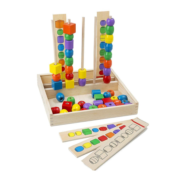Melissa A Doug 570 Bead Sequencing Set with 46 wooden beads exxab.com