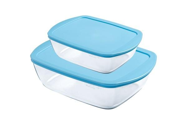 Pyrex Set of 2 Rectangular Cook & Store Color Storage Set - Candy (2.5 - 1.1 L) exxab.com