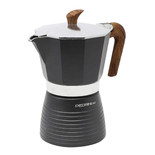 Pedrini 02CF058 Coffee Maker Brown Alumi S/s Cover Bakalite Wooden effect Handle Safety Valve - Display Box