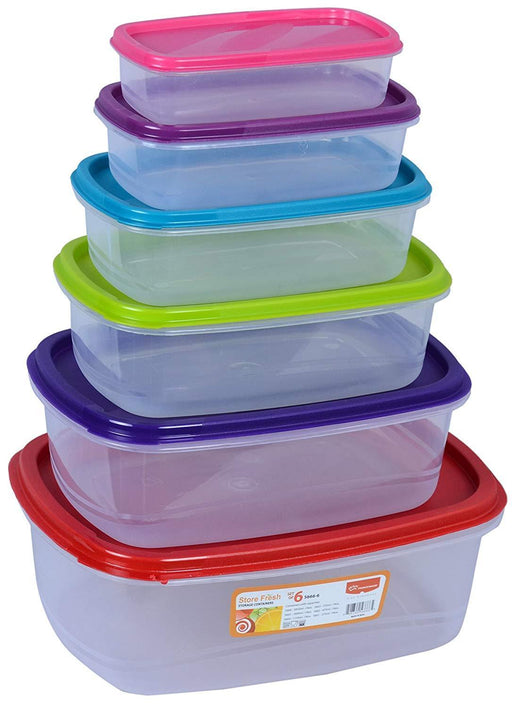 Princeware 5667/7 storage containers with multi color lids, rectangle exxab.com