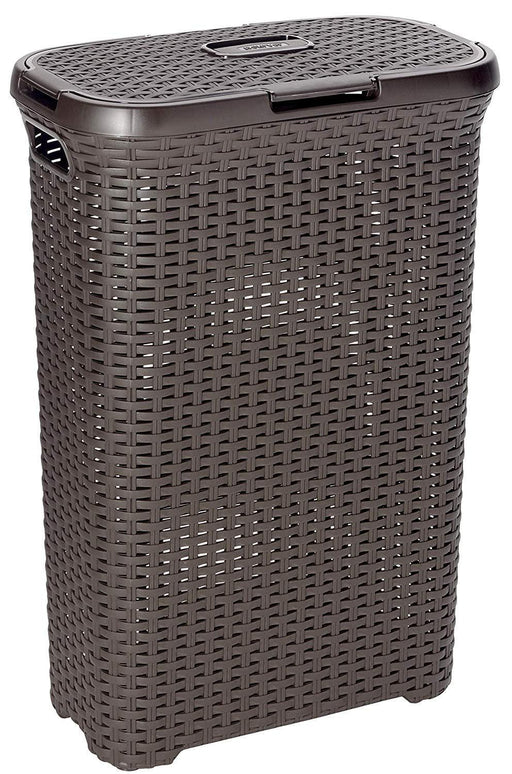 Curver style rattan laundry hamper, 40L, dark brown
